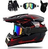 TKUI Motocross-Helm mit Schutzbrillen-Handschuhmaske, rötlich-schwarzer MTB-Helm für Kinder, Cross-Helm, Unisex Enduro Downhill BMX-Offroad-Fahrrad, D.O.T.-Zertifiziert (M)