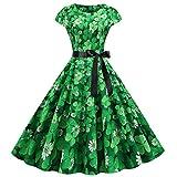 Yize Damen Vintage 50er Jahre Rockabilly Neckholderkleid ST Patrick's Day Kleeblatt Kleid Gr. X-Large, Typ 4