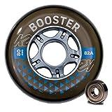 K2 Skates Unisex– Erwachsene Rollen mit Kugellager Booster 80 MM 82A 8-Wheel Pack W ILQ 7 — Black — 80mm — 30F3009