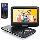 Tragbarer DVD Player für Auto, 10,5 Zoll HD Bildschirm, 5 Stunden Akku, CD Player für Kinder, Unterstützung USB/SD, AV In/Out,Spiel Joystick, Sync TV/Projektor/DVD, Region Frei, Schwarz