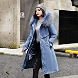 FDJIAJU Daunenweste Baumwolle,Mode Mode Frauen Winter Plus Samt Big Fur Collar Lange Gepolsterte Jacken Office Lady Solid Pocket Zipper Patchwork Dicker Parke Mantel Blau, XXL
