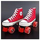 LYL Vier Runde Roller Skates Frauen, Junge, Mädchen, Kinder, glänzende Räder, oberes Canvas-Material (Color : Shiny Wheels, Size : 32)
