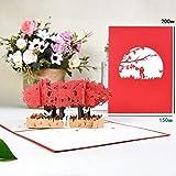 QWH 3D Pop-Up Karten Blumen Geburtstagskarte Jubiläumsgeschenke Postkarte Hochzeitseinladungen Grußkarten Einhorn Ahorn Kirschbaum, Rhododendron Liebhaber