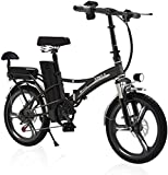 E-Scooter Elektro-Trike,Erwachsene 20-Zoll-Klapp-Elektrofahrrad Ebike 48V 20Ah Lithium-Batterie Elektro-Mountainbike 350W Power-Fahrrad Doppelsitz,elektroroller Mit Sitz Straßenzulassung