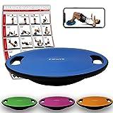 POWRX Balance Board inkl. Workout I Wackelbrett Ø 39cm mit Griffen I Therapiekreisel für propriozeptives Training und Physiotherapie Royal Blue