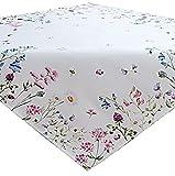 Raebel OHG Apolda Tischdecke 85x85 cm Sommer Pflegeleicht Weiß Blumenwiese Biene Bunt Frühlingsdecke (85 x 85 cm)