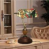 AWCVB Tiffany-Stil Stiefmütterchen Bank Lampe Retro Literarisch Kreative Inline-Zink-Legierung Bar Café Tischlampe