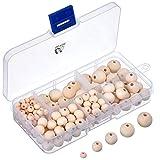 150 Stück Natürliche Runde Holzperlen Set mit Box für DIY Schmuck Herstellung, 5 Größen (6 mm/ 8 mm/ 10 mm/ 12 mm/ 14 mm)