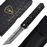 AUBEY Damast Taschenmesser, Damaststahl Tanto Klappmesser Schwarz, Damastmesser Japanischer Stil, 9 cm Klinge Einhandmesser mit Flipper