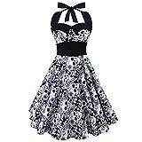 BBalm Personalisiertes Neckholder-Kleid im Retro-Stil mit Skelettkopfdruck Rosendruck Kontrastfarbe Zierknöpfe Großer Saum