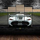 IMXBTQA 5 Teile Bild Auf Leinwand Leinwandbilder Breite:175Cm,Höhe:80Cm Fünfteilig Mehrteilig Bilder Mit Rahmen- Koenigse Jesko White Exotic Car Kunstdruck Wandbilder