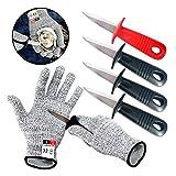 Austernmesser mit grauen schnittfesten Handschuhen, Set, Austernschüttelmesser mit schwarzem Kunststoffgriff, Öffner-Set für Austernmuscheln, Muscheln, Meeresfrüchte