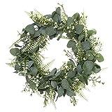 HUAESIN Künstliche Eukalyptus Kranz Grün Türkranz Deko Wandkranz Girlande Kunstpflanze Hängen Kranz für Hochzeit Tür Party Fenster Garten Wand Kamin Dekoration 40cm
