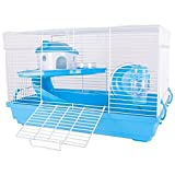 Hamsterkäfig Nagerkäfig Mäusekäfig mit Laufrad, Futterschüssel, Wasserflasche, Häuschen und Rutsche in (Blau)