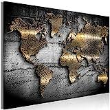 murando - Bilder Weltkarte 120x80 cm Vlies Leinwandbild 1 TLG Kunstdruck modern Wandbilder XXL Wanddekoration Design Wand Bild - Landkarte Kontinente Textur schwarz Gold Abstrakt k-A-0498-b-a