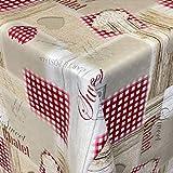 KEVKUS Wachstuch Tischdecke 06211-00 Chalet rot kariert Holze Herzen beige eckig rund oval (Rand: Schnittkante (ohne Einfassung), 140 x 180 cm oval)
