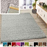 VIMODA Prime Shaggy Teppich Grau Hochflor Langflor Teppiche Modern, Maße:70x250 cm