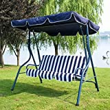 BDBT Hohe Qualität Verandaschaukel mit Ständer Außenmöbel Schaukel Schaukelstuhl, Schmiedeeisen Wasserdichtes Dach Hohe Rückprallkissen Sessel (Color : A)