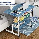 TTXP Stahlrohr Schreibtisch Klein mit Blaues MDF,Höhenverstellbar, Abschließbare Rollen, 3 Lagerschichten,Laptop Tablett Mit Kissen für Sofa/Bett