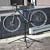 ECD Germany Fahrradmontageständer aus Stahl, Reparaturständer 360° drehbar/höhenverstellbar, robuster Fahrradständer für alle Fahrradarten bis 50kg, 4-beiniger Stativfuß, magnetischer Werkzeugablage