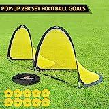 PodiuMax Pop Up 2er Set Fußballtor, 1.8m Breit mit Bodenanker, reflektierenden Kanten und 10 x Hütchen, Tragbar und Leicht Aufzustellen