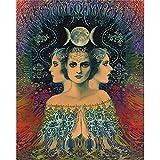 SYLSBAZGYS Mondgöttin des Geheimnisses Psychedelic Tarot Leinwanddruck Bohemian Gypsy Art Home Decoration Poster und Drucke Kein Rahmen-30x40cm