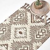 Homescapes Kelim-Teppich Lhasa, handgewebt aus Wolle/Baumwolle, 120 x 170 cm, Wollteppich/Baumwollteppich mit geometrischem Rautenmuster und Fransen, braun-weiß