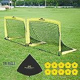 PodiuMax 2er Set Faltbar Pop Up Fußballtor mit 10 x Hütchen, 8 x Bodenanker, Schnell Aufzustellen,Tragbar und Stabil (Medium)