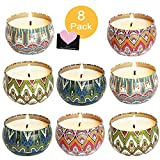 HEPAZ Aroma Kerzen,8 Stück Duftkerzen Geschenk Set,Natürliches Sojawachs für Aromatherapie,für Muttertag,Geburtstag,Valentinstag,Aromatherapie,Bad,Yoga,Duftkerze Natürliches
