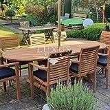 Luxus Home & Garden Teak Gartenmöbel oval 180-240 cm Ausziehtisch (8 Stapelstühle) Komplettset Kissen inklusive