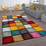 Paco Home Kurzflor Wohnzimmer Teppich Bunt Karo Design Vierecke Mehrfarbig Farbenfroh, Grösse:160x230 cm